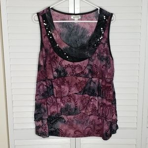 Dress Barn Plus Sz Sleeveless Sequin Tiered Top 3X